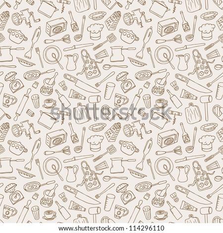 kitchen seamless background - stock vector