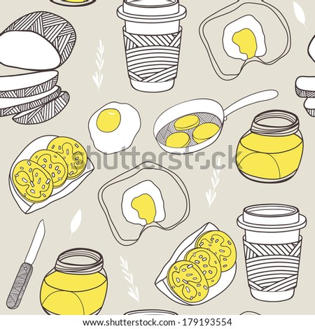 Kitchen seamless pattern. Cartoon vector background - stock vector