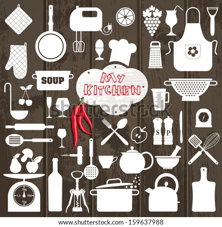 Kitchen set icon. - stock vector