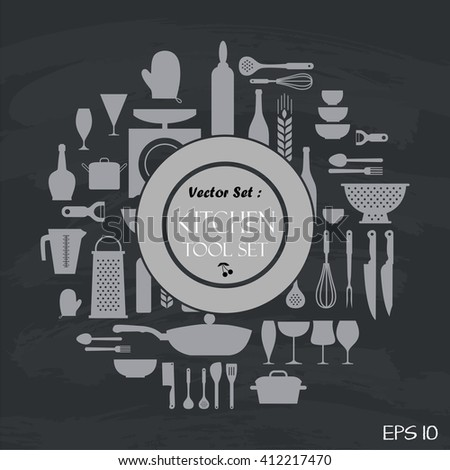 Kitchen set tool on black board , flat style