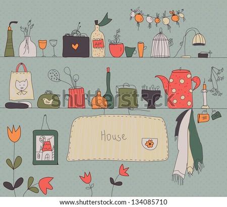 Kitchen shelf vintage background with accessories - stock vector