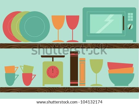 Kitchen shelves with kitchen and food related items - stock vector