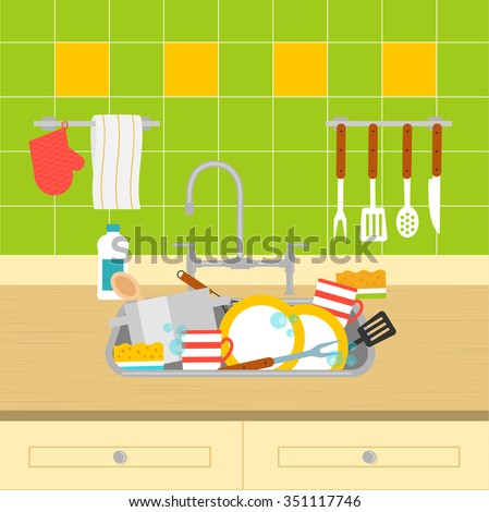 Kitchen Sink With Dirty Dishes Vector Illustration Washing Up And Cleaning Dishwashing