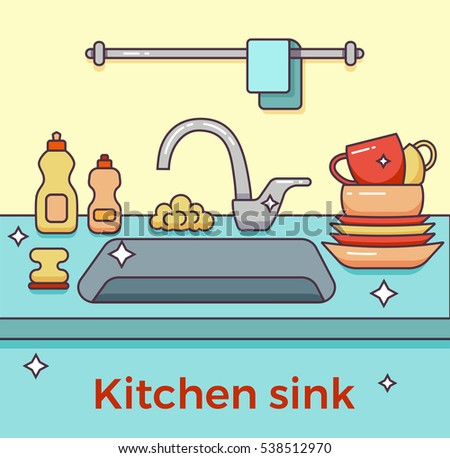 Kitchen Sink With Clean Dishes kitchen sink kitchenware dishes utensil towel stock vector