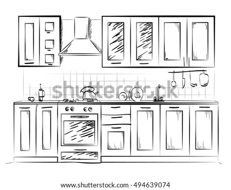 Kitchen Design Sketch Delectable Kitchen Sketch Stock Images Royaltyfree Images & Vectors . Decorating Design