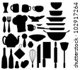 kitchen stuff icons for food menu, and web icons - stock photo