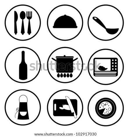 kitchen stuff icons for food menu, and web icons - stock vector