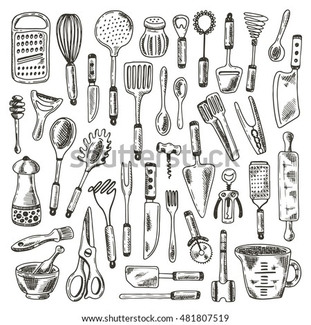 Bon Kitchen Supplies Set. Hand Drawn Vector Illustration. Peeler, Grater,  Spoon, Corkscrew