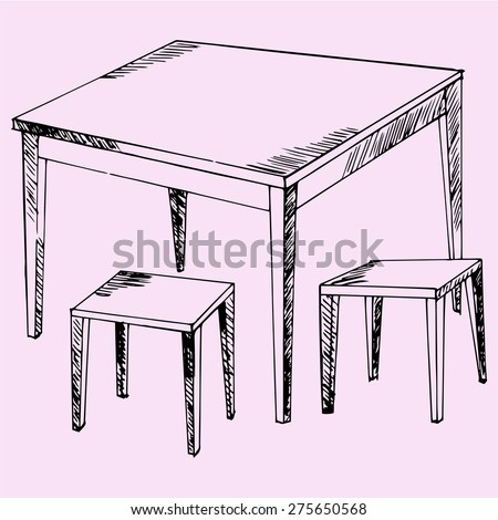 kitchen table and chairs, doodle style, sketch illustration - stock vector