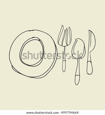 kitchen tableware hand drawn image. fork, knife, plate and spoon sketch artwork. vector illustration.