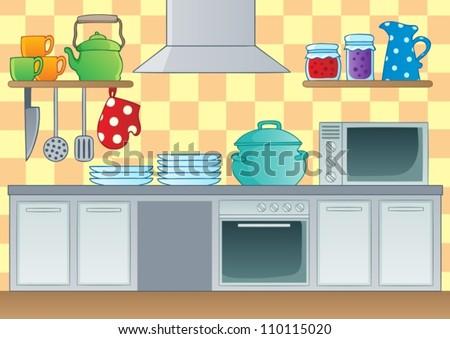 Kitchen theme image 1 - vector illustration. - stock vector
