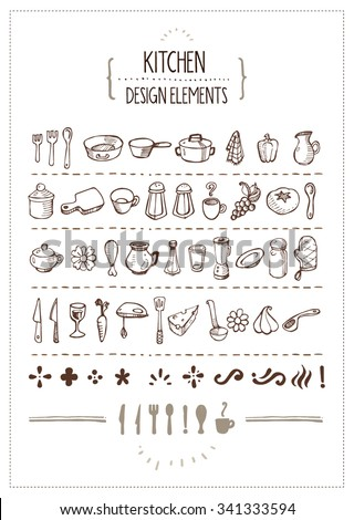Kitchen Themed Doodles for Designers - Several hand-drawn kitchen utensils icons and extra design elements. Perfect for restaurant menus, cooking books, recipes and such. - stock vector