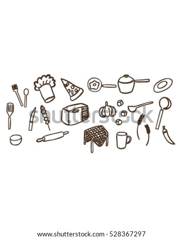 kitchen tool and food (Doodle vector art)