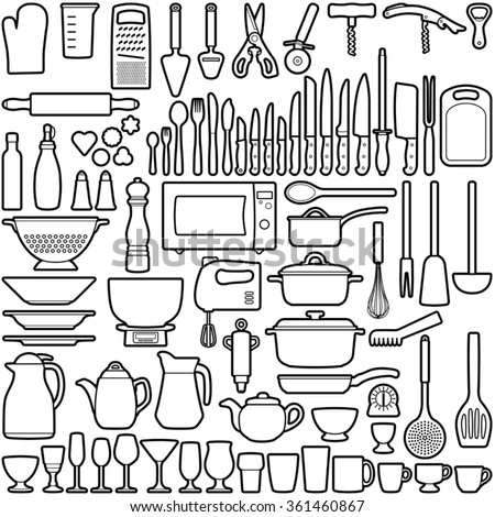 Kitchen tool collection - vector line illustration