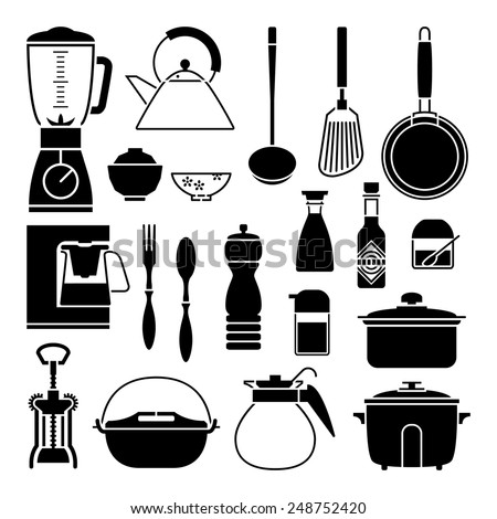 Kitchen tool collection vector silhouette - stock vector
