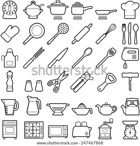 Kitchen tool icon collection - vector illustration