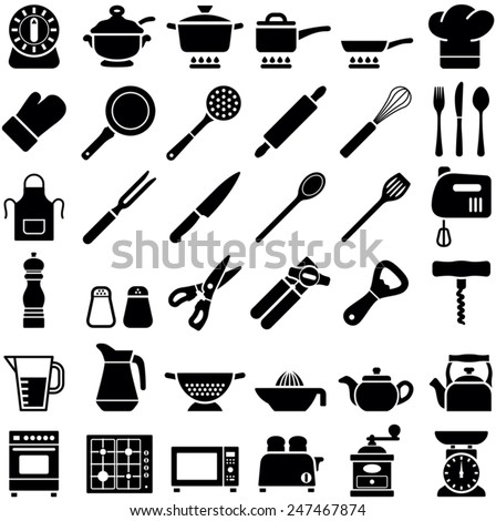 Kitchen tool icon collection - vector illustration - stock vector