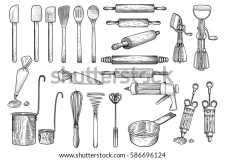 Kitchen Tool Utensil Vector Drawing Engraving Illustration