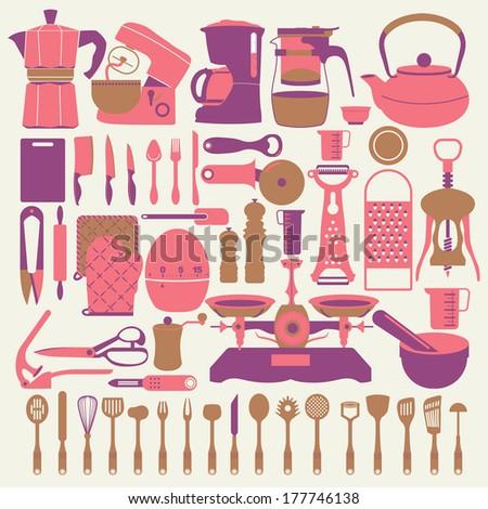 kitchen tools - stock vector