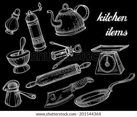 Kitchen tools collection, white over black doodles - stock vector