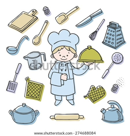 Kitchen tools color vector icons set. Profession background - stock vector