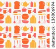 Kitchen tools seamless pattern. Cooking texture can be used for towel design. Vector illustration - stock vector