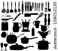 Kitchen tools Silhouette Vector illustration - stock vector
