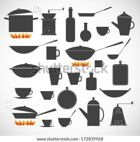 Kitchen tools sillhoeuttes isolated on white. Vector illustration. - stock vector