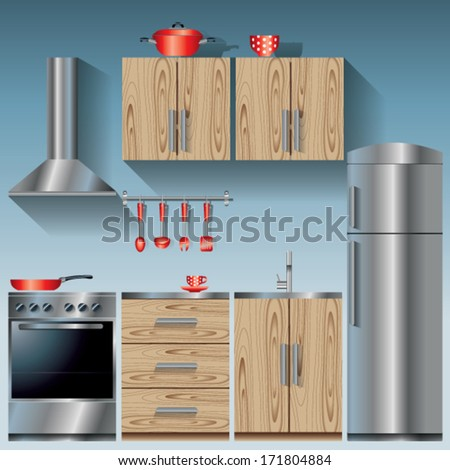 Kitchen units with red dishes