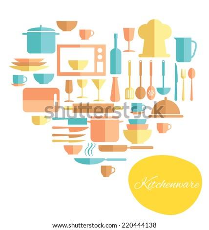 kitchen utensil design elements  - stock vector
