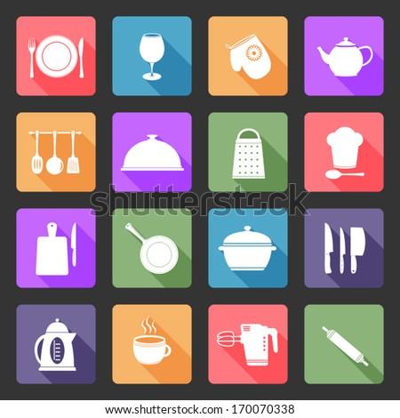 Kitchen utensil flat icons set - stock vector