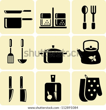 Kitchen Utensil Icons - stock vector
