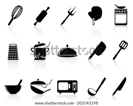 Kitchen utensil icons set - stock vector