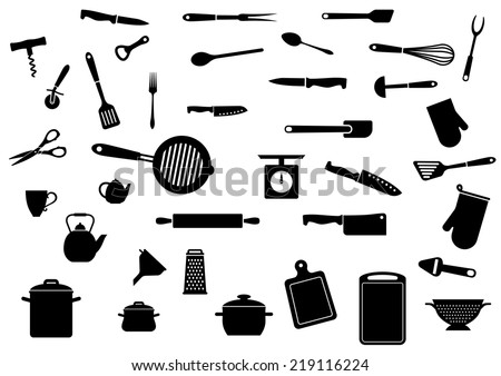 Kitchen utensil silhouette icons set isolated on white background. For kitchenware and restaurant design - stock vector