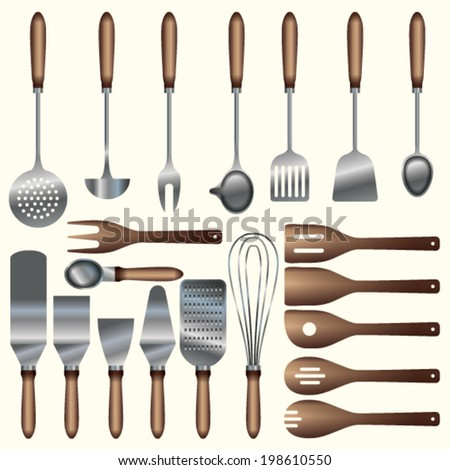 kitchen utensils - stock vector