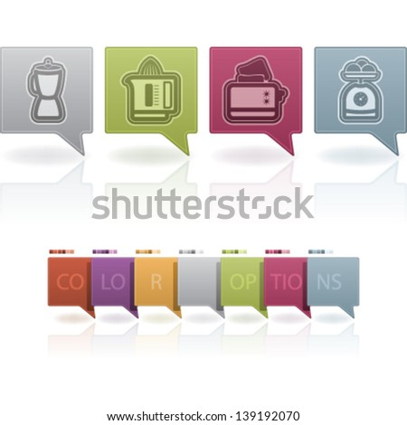 Kitchen utensils accessories, pictured here from left to right:  Blender, Juicer, Toaster, Kitchen scale. - stock vector