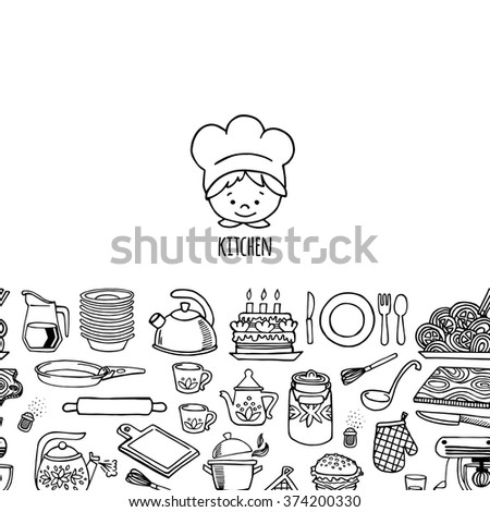 Kitchen utensils and appliance horizontal banner white and black vector. Background Kitchen.