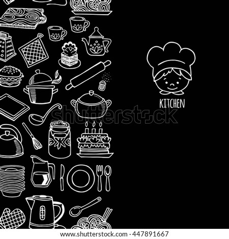 Kitchen utensils and appliance vertical banner vector. Background Kitchen.