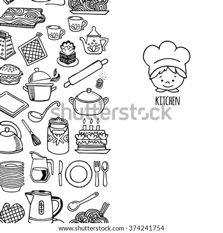 Kitchen utensils and appliance vertical banner white and black vector. Background Kitchen.