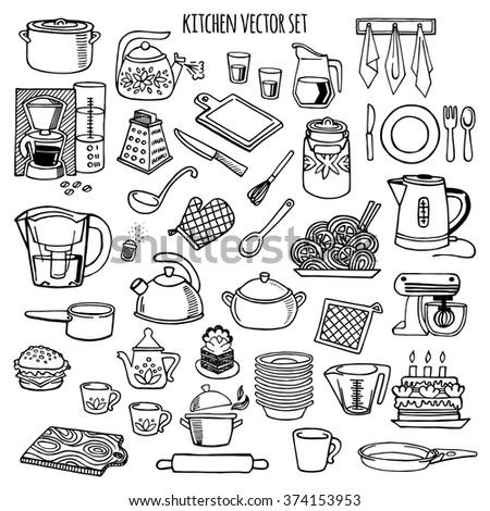 Kitchen Utensils Appliance White Black Vector Stock Vector (Royalty ...