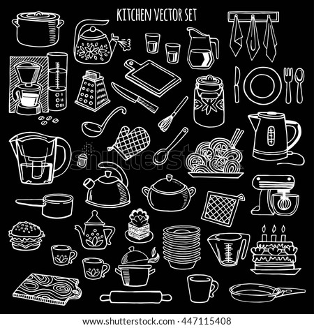 kitchen utensils appliance white black vector stock vector