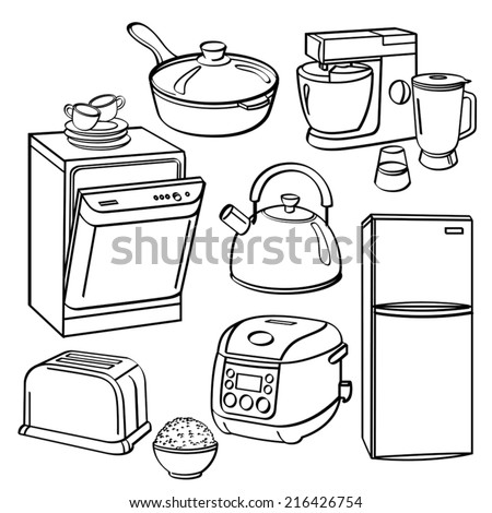 Kitchen Utensils and Appliances - stock vector