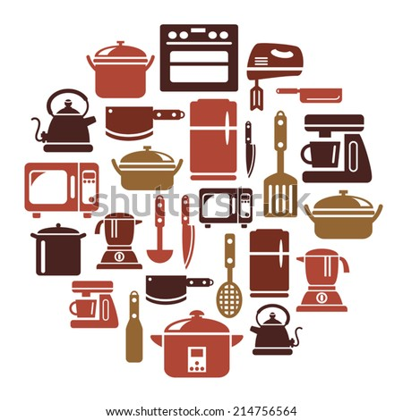 Kitchen Utensils and Appliances Icons in Circle Shape - stock vector