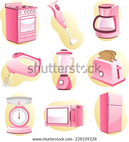 Kitchen Utensils and Appliances vector cartoon for little girls. - stock vector