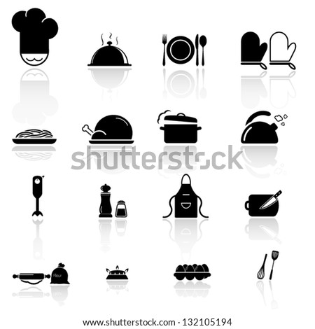 Kitchen utensils  and food icon - stock vector