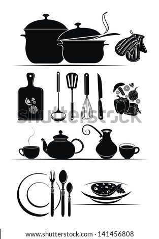 kitchen utensils and food ingredients - vector design set