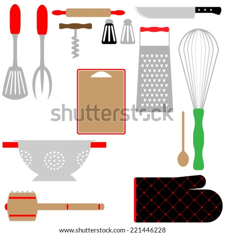 Kitchen utensils and tools in color.