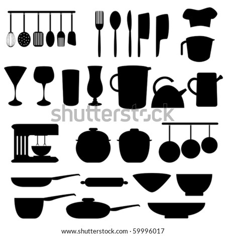 Kitchen utensils and tools in gray - stock vector