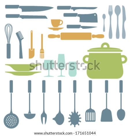 Kitchen utensils color silhouette elements