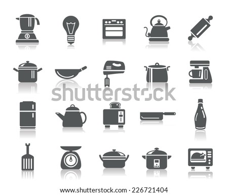 Kitchen Utensils Icons - stock vector